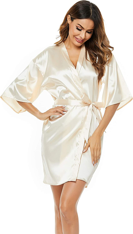 Haiiploo Women's Short Satin Pure Color Kimono Robes with Oblique V-Neck(S-XXL)