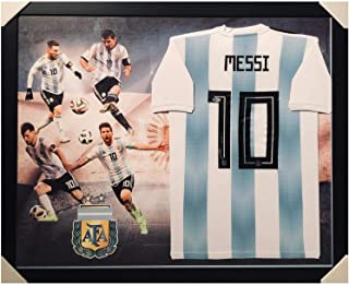 Lionel Messi Signed Jersey - Framed Player Layout AFA Edition White Bec - Autographed Soccer Jerseys