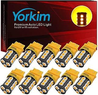 Yorkim Super Bright 3157 LED Light Bulbs Amber Pack of 10, 3157 LED Brake Lights, 3157 LED Backup Reverse Lights, 3156 LED Reverse Tail Lights, Turn Signal Led - 3056 3156 3057 3157 4157 LED Bulbs