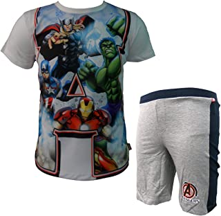 5075 Marvel Completo Bambino Mezza Manica Corto in Cotone Avengers Art