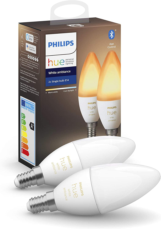 Philips Hue - Bombilla inteligente, E14, Luz cálida y fría, 5.2W, Compatible con Alexa y Google Home - Pack de 2 Bombillas LED inteligentes