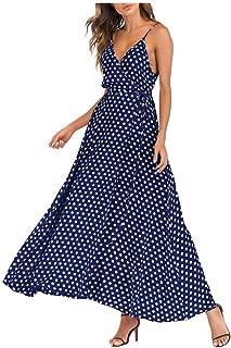 Sexy Dresses for Women,Fashion Women V-Neck Sleeveless Caims Beach Polka Dot Bandage Long Maxi Dress
