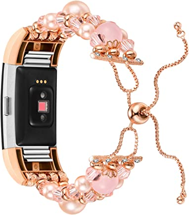 featured product Aiseve Jewelry Bracelet Compatible Fitbit Charge 2, Adjustable Women Bling Dressy Elastic Bands Crystal Beads Pearls Replacement Girls Wristbands Strap