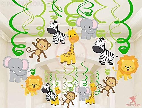 party propz safari animal jungle ceiling hanging swirl decorations boy and girl baby shower cutout festive party supp...