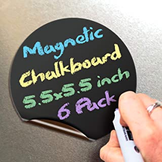 Magnetic Chalkboard Notes - 5.5 x 5.5 inch, 6 Pack, Round - Decorative Magnet Blackboard for Fridge, Kitchen Organizer, De...