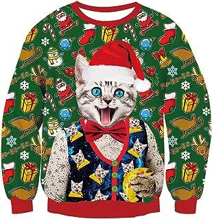Men Women 3D Ugly Christmas Sweatshirt Casual Graphic Xmas Long Sleeve Pullover Shirt