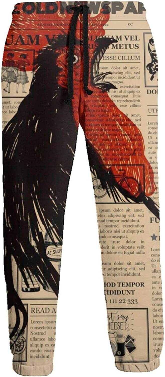 Men's Women's Sweatpants Old Newspaper Rooster Cock Athletic Running Pants Workout Jogger Sports Pant