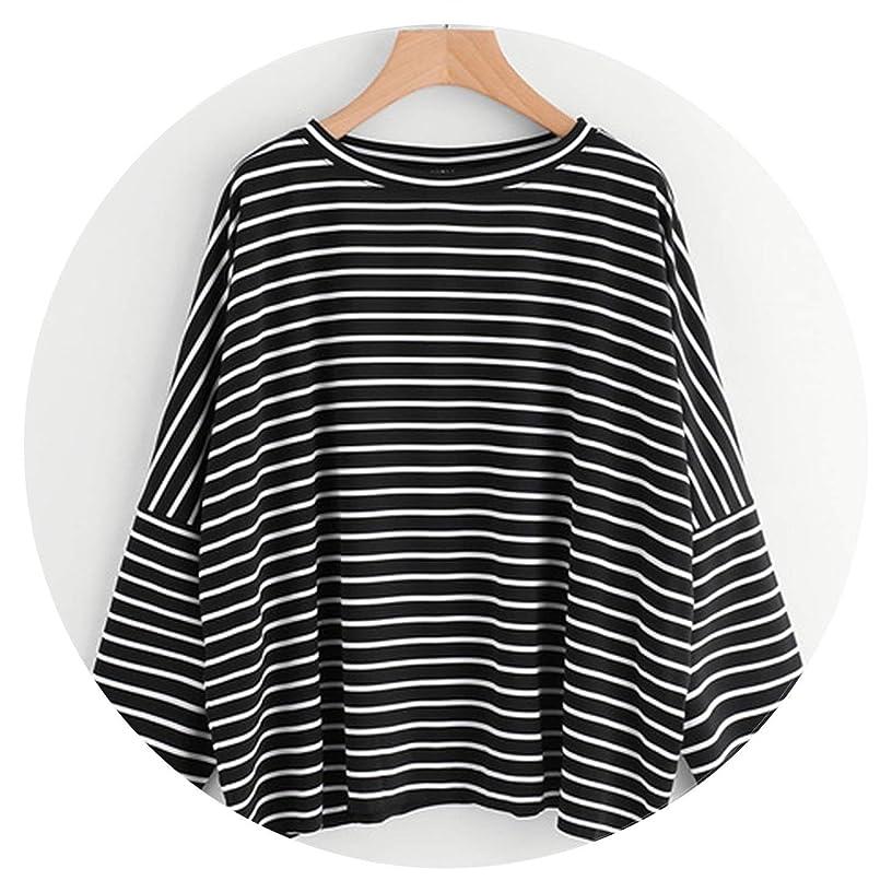 Oversized Tops Women Long Sleeve Shirt Autumn Womens Tee Shirt Striped T-Shirts