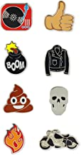 Just For Laughs Pincredibles Enamel Pins 8-pack (Turn Table, Thumbs-up Emoji, Poo Emoji, Bomb, Leather Jacket, Fire, Skull, Motorcycle)