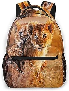 Mochila Tipo Casual Mochila Escolares Mochilas Estilo Impermeable para Viaje De Ordenador Portátil hasta 14 Pulgadas Lindos Cachorros de león