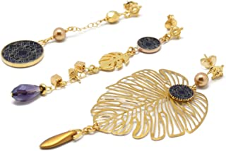 MONSTERA orecchini in oro 24K resina arabesco art déco perla nera duo o trio regali personalizzati regalo di natale amici ...