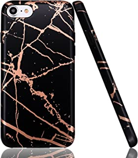 luolnh iPhone 5 Case,iPhone 5S SE Case, Shiny Rosegold Metal & Black Marble Shockproof Clear Bumper TPU Soft Case Rubber Silicone Skin Cover Case for iPhone 5 5s SE