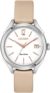 Women's 'Drive' Quartz Stainless Steel and Leather Casual Watch, Color:Beige (Model: FE6140-03A)