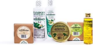 Moringa Hair & Skin Care Set - Moringa Soap + Moringa oil + Moringa Shampoo & Conditioner - 100% Natural Products - Hair fertilizer pomade.