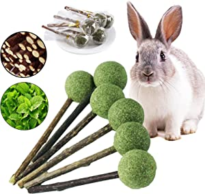 kathson 12pcs Bunny Chew Toys for Teeth Grinding,Natural Organic Apple Sticks for Rabbits,Rodent Pets Rats Snacks Herbage Lollipop for Chinchillas,Guinea Pigs,Hamsters,Squirrels