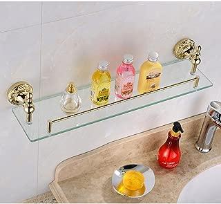 Leyden Bathroom Bath Shower Ti-pvd Finish Solid Brass Material Glass Shelf Lavatory Accessories