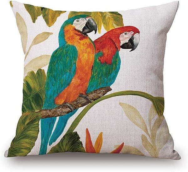 JES MEDIS 家居棉麻装饰方形抛枕套可爱小鸟卡通 Patten 靠垫靠枕套 18x18