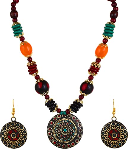 YouBella Jewellery Set for Women Tibetan Pendant Necklace with Earrings for Women & Girls (Gift) Tribal Necklace Jewe...