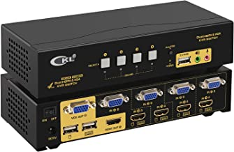 CKL HDMI + VGA Dual Monitor KVM Switch 4 Port with Audio and USB 2.0 HUB, PC Monitor Keyboard Mouse Switcher Box Mirrored or Extended Display for Computers and Laptops CKL-942HV