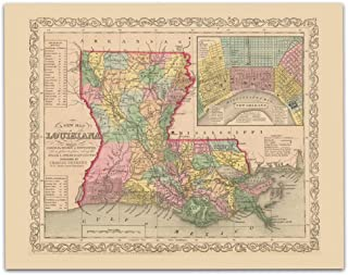 Louisiana Vintage Map Circa 1856-11 x 14 Unframed Print - Great Housewarming Gift. Louisiana Themed Office Decor.