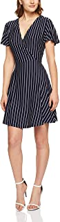 French Connection Women's Stripe Jersey WRAP Dress, Nocturnal/Summer WHI