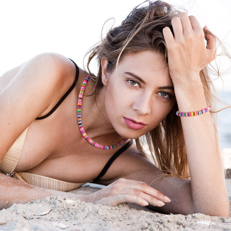 Heishi Surfer Necklace Bohemian Boho Choker Necklace and Boho Bead Bracelet Jewelry for Women Girls