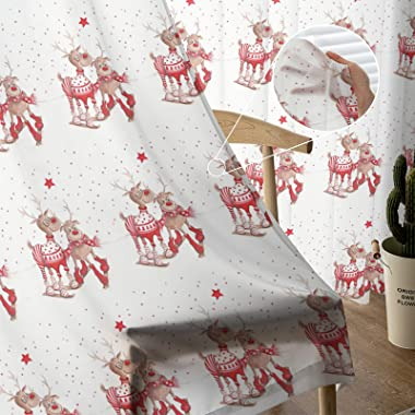 Rod Pocket Semi Sheer Curtains Christmas Theme Lovely Elk on Red Light Filtering Drapery Curtains for Office & Living Roo