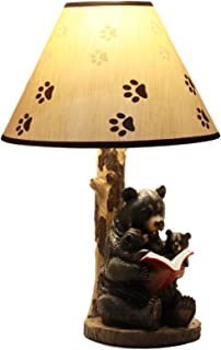 Ebros Bedtime Story Mama Bear Reading to Baby Bears Table Lamp Statue Desktop Decor with Printed Paw Shade Rustic Western Cabin Lodge RV Decorative Accent Lighting
