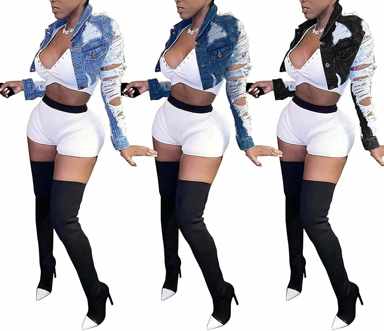 Womens Ripped Cropped Denim Jackets Lapel Button Down Short Crop Top Destroyed Jean Coat Distressed Jean Jackets