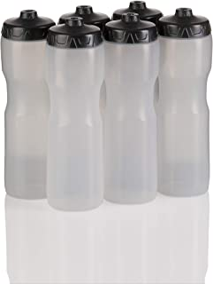 50 Strong Brand Jet Stream Sports Squeeze Water Bottle with One-Way Valve - Team Pack – Set of 6 Leak Proof Squirt Waterbottles - 28 Ounces -Perfect for Bikes - Made in USA