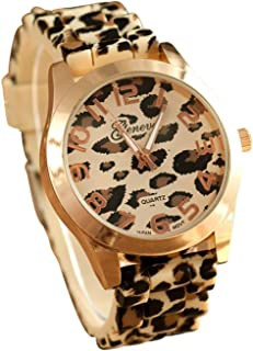 Fanmis Unisex Geneva Leopard Silicone Jelly Gel Quartz Analog Wrist Watch (Gold)