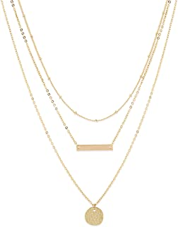 LOYATA Bohemia Layered Necklace, Bar Coin Charm Pendant Neckalce Delicate Station Chain Multilayer Dics Bar Choker Necklaces for Women Girls