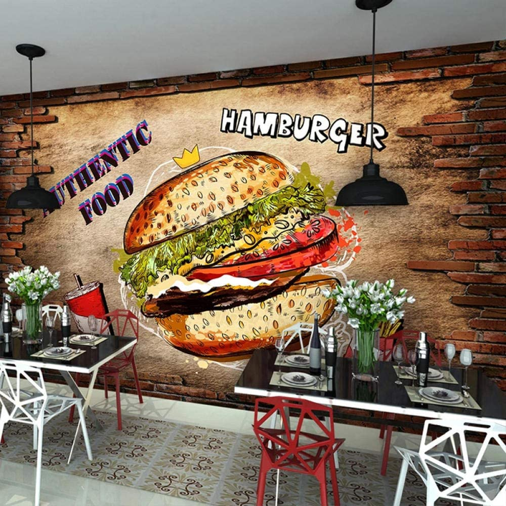 3D Mural Wallpaper Cafe 直営店 Restaurant Shop 蔵 Poster Cartoon Hamburger