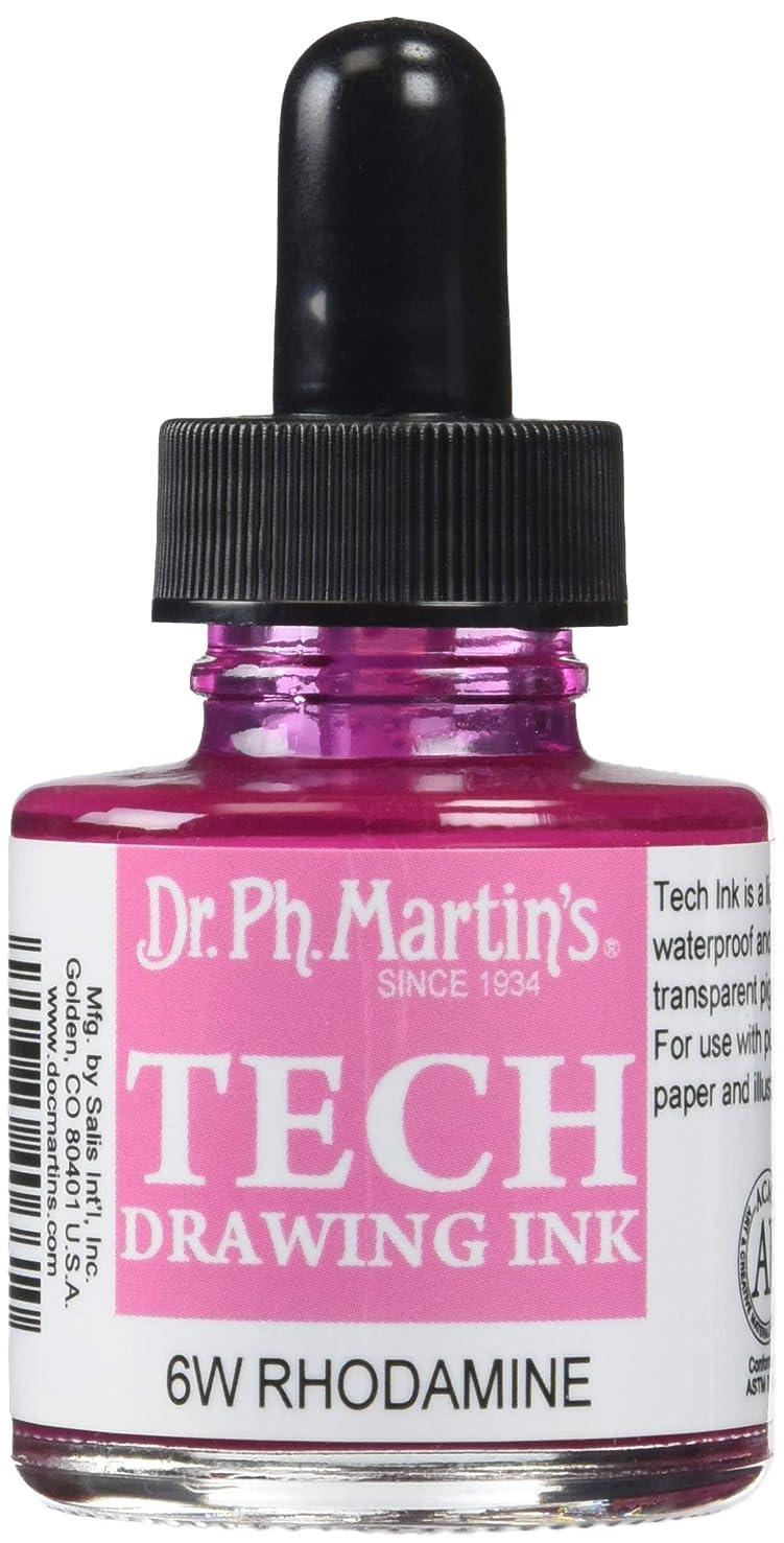 Dr. Ph. Martin's TECH10OZS6W TECH Drawing (6W) Ink Bottle, 1.0 oz, Rodamine