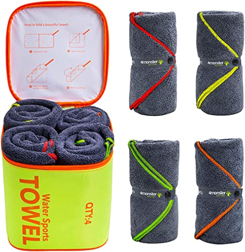 4Monster 4 Pack Microfiber Bath Towel Camping Towel Swimming Towel Sports Towel with Accessory Bag, Quick Dry & Super...