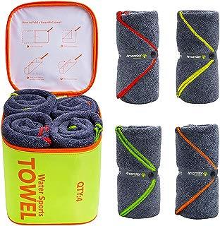 4Monster 4 Pack Microfiber Bath Towel Camping Towel...