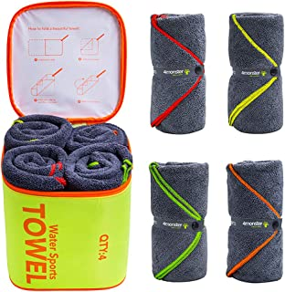 4Monster 4 Pack Microfiber Bath Towel Camping Towel...