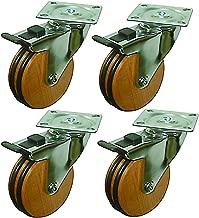 Headbourne 8285E 8285 3-Inch Beech Wood Designer Caster, 4-Pack