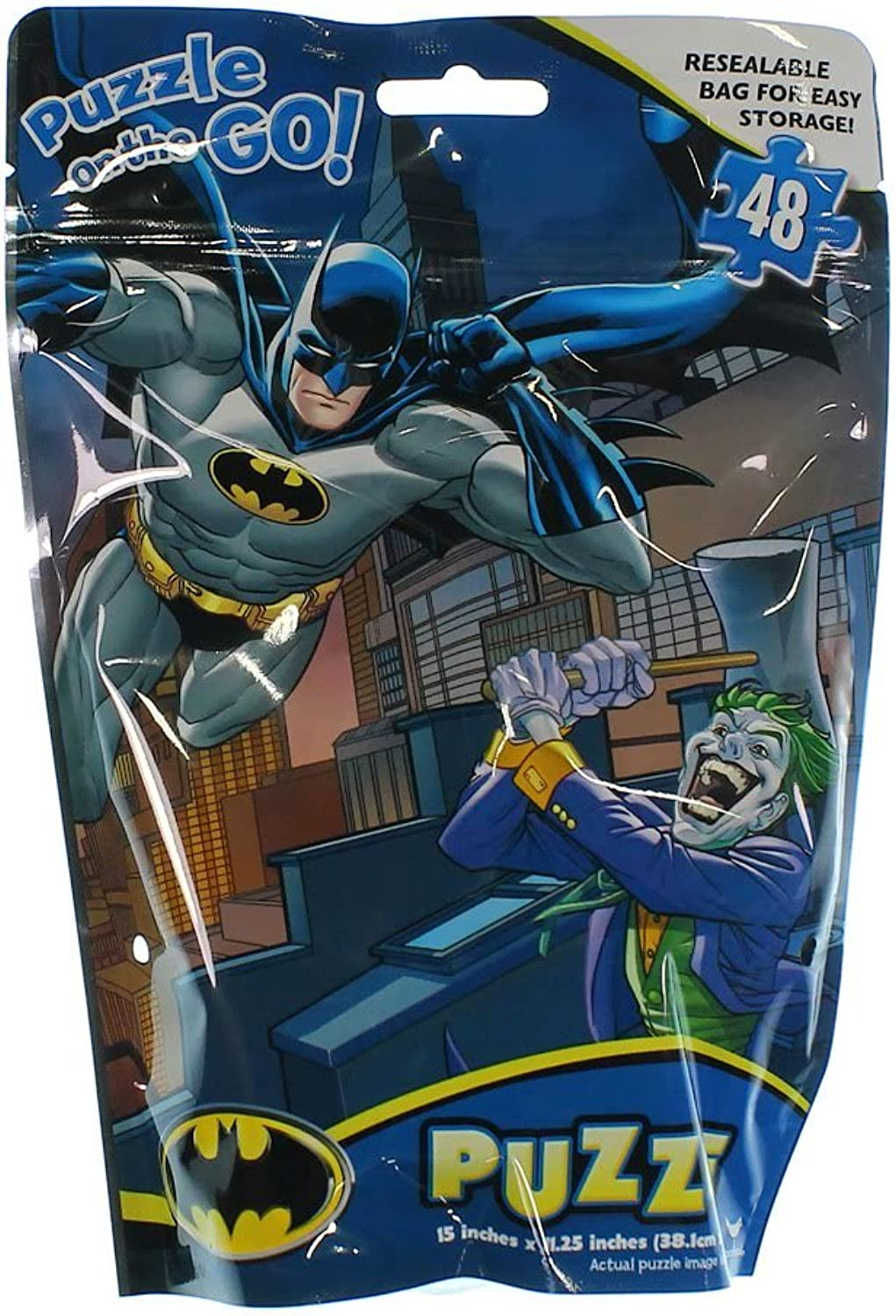 Batman Puzzle on the Go Resealable Bag for Easy Storage 15' X 11.25 In.