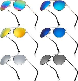 6 Pairs Kids Mirrored Sunglasses 70's Metal Mirror...