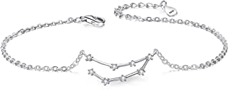BriLove Women 925 Sterling Silver CZ Horoscope Zodiac 12 Constellation Astrology Link Bracelet