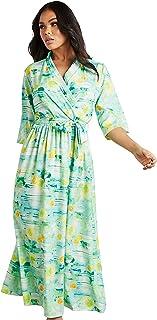 فستان متوسط الطول بتصميم ملتف مطبع بنمط استوائي للنساء