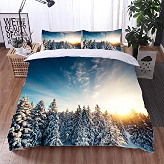 VROSELV-HOME Print Comforter Quilt Set,Winter Forest at Sunrise,Soft,Breathable,Hypoallergenic,Bedding Sets