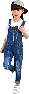 Kidscool Girls Classic Big Bib Ripped Holes Jeans Overalls Pants