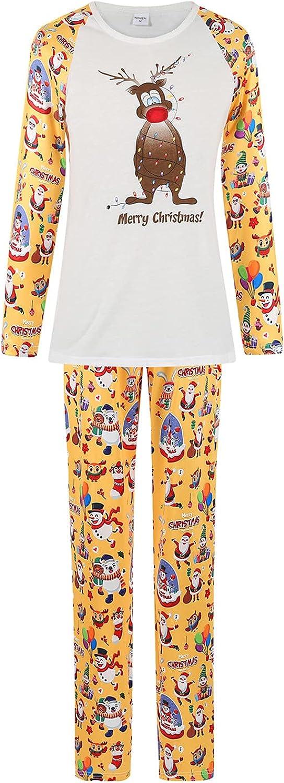 Goldweather Christmas Family Matching Pajamas Funny Deer Print Long Sleeve Top Tee + Pants Xmas Pjs Sleepwear Sets Loungewear