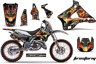 Kawasaki KX125 KX250 1994-1998 MX Dirt Bike Graphic Kit Sticker Decals KX 125 250 WITH Number Plates FIRESTORM BLACK