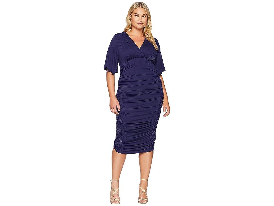 Kiyonna Rumor Ruched Dress (Navy) Women