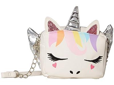 OMG! Accessories Winged Rainbow Unicorn Crossbody (White) Cross Body Handbags