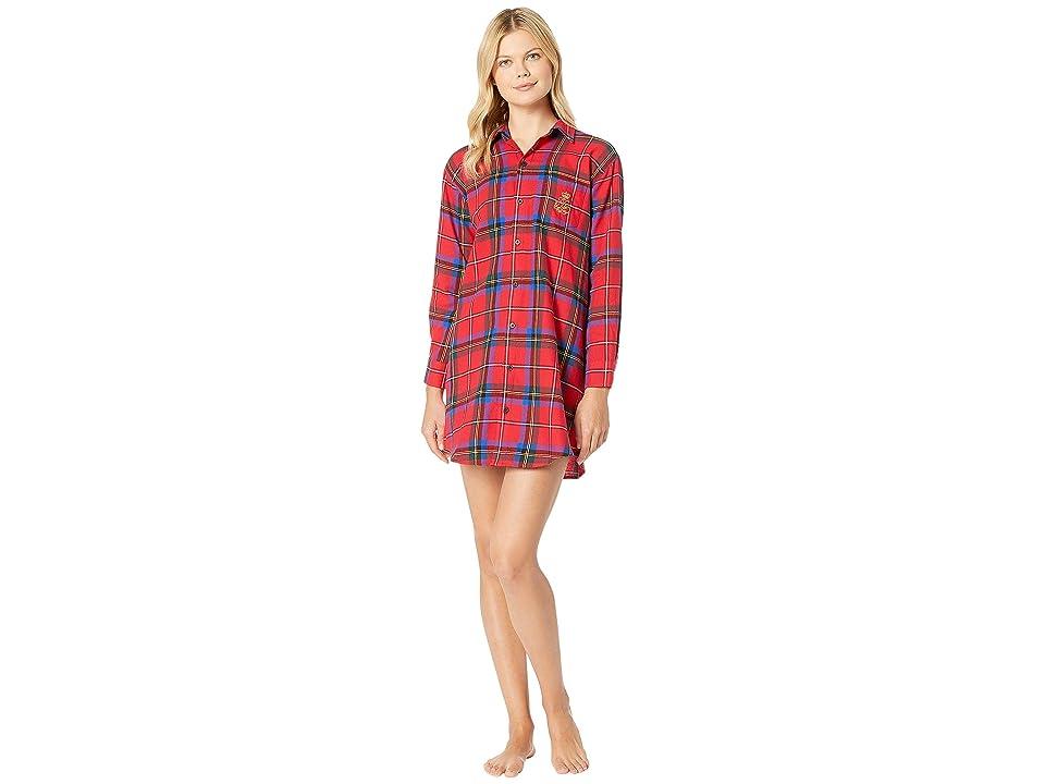 LAUREN Ralph Lauren Brushed Twill His Shirt Sleepshirt (Red Plaid) Women