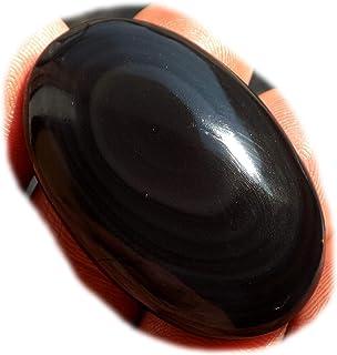 RASIO Cabujón de obsidiana arco iris negro, piedra preciosa semipreciosa natural, forma ovalada de 30 quilates 26x21x8 mm,...